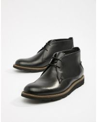 Original Penguin Leather Lace Up Boots In Black
