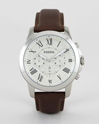 Fossil - Fs4735 Grant Brown Leather Strap Chronograph Watch - Brown - Lyst