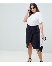 ASOS - Asos Design Curve Wrap Front Midi Skirt With Self Belt - Lyst