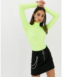 Bershka - High Neck Body In Neon Yellow - Lyst