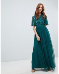 Amelia Rose - Embellished Maxi Dress With Fluted Sleeve In Emerald Green - Lyst