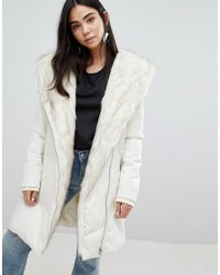 New Look - Faux Fur Shawl Padded Coat - Lyst