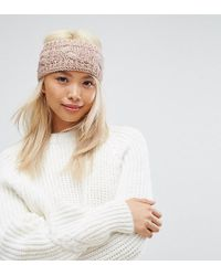 Stitch & Pieces - Knitted Cable Headband In Pink - Lyst
