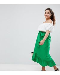 ASOS - Asos Design Curve Cotton Midi Skirt With Tie Belt And Ruffle Hem - Lyst