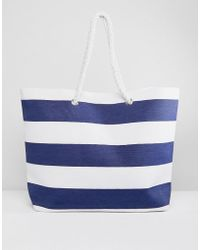 South Beach - Stripe Tote Bag With Rope Handles - Lyst