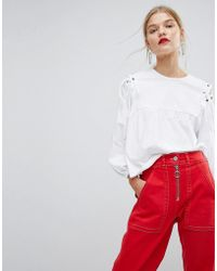 Mango - Shirt With Lace Up Shoulder Detail - Lyst