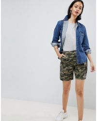 ASOS - Short cargo camouflage ourlet brut - Lyst