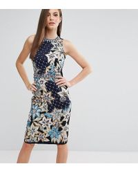 A Star Is Born - Quilted Embroidery & Embellished Pencil Dress - Lyst