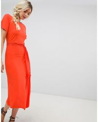 Warehouse - Tie Detail Midi Dress In Orange - Lyst