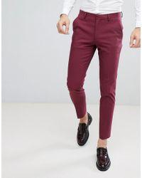 ASOS - Wedding Skinny Suit Pant In Wine - Lyst