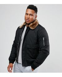 Schott Nyc - Plus Air Bomber Jacket Detachable Faux Fur Collar Slim Fit In Black/beige - Lyst