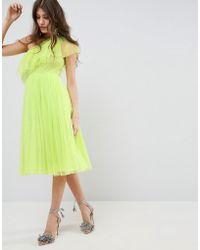 ASOS DESIGN - Asos Tulle One Shoulder Midi Dress - Lyst