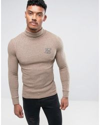 SIKSILK - Jumper In Stone With Roll Neck - Lyst