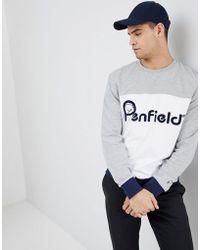 Penfield - Orso Crew Neck Sweatshirt Front Logo Cut & Sew In Grey/white - Lyst