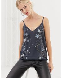 Oasis - Cami Top With Star Embellishment In Grey - Lyst