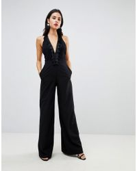 ASOS - Asos Jumpsuit With Lace Top Fringing - Lyst