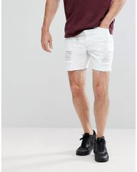 SIKSILK - Super Skinny Denim Shorts In White With Distressing - Lyst
