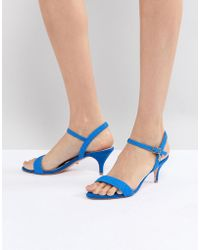 Dune - Bright Blue Kitten Heel Two Part Sandal - Lyst