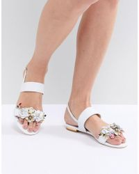 Dune - Two Part Flat Leather Sandal In White With Flower Embellishment - Lyst