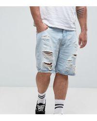 ASOS - Asos Plus Slim Denim Shorts In Light Bleach Wash Blue With Rips - Lyst