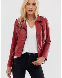 Barneys Originals - Barney's Originals Coloured Leather Biker Jacket In Red - Lyst