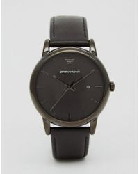 Emporio Armani - Leather Watch In Black Ar1732 - Lyst