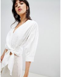 Warehouse - Blouse With Wrap Front In Broderie - Lyst