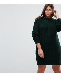 ASOS - Oversized Knitted Dress With Cable Detail - Lyst