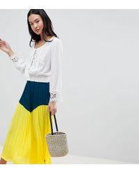 Boohoo - Color Block Pleated Midi Skirt - Lyst