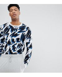 ASOS - Tall Jumper In White With Squiggle Design - Lyst
