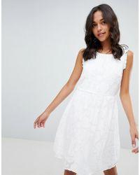Vila - Jacquard Floral Ruffle Dress - Lyst
