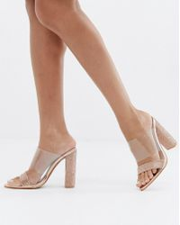 Public Desire - Birthday Suit Rose Gold Diamante Mules - Lyst