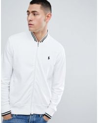 Polo Ralph Lauren - Zipthru Tipped Sweat Bomber Jacket Polo Player In White/black - Lyst