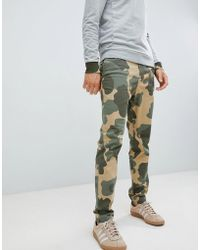 Original Penguin - Camo Print Dobby Tapered Chinos In Green - Lyst