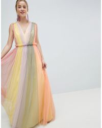 ASOS - Design Tulle Maxi Dress In Pastel Colourblock - Lyst