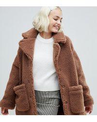 Monki - Oversized Teddy Jacket In Brown - Lyst
