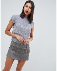 Oasis - Shift Dress With Fringe Detail In Grey - Lyst