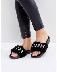 Truffle Collection - Truffle Pearl Fur Slide - Lyst