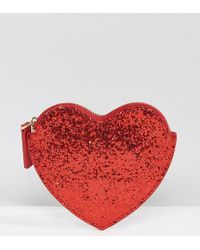 Lulu Guinness - Red Glitter Heart Purse - Lyst