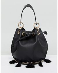 French Connection - Bucket Bag With Tassel Detail And Hardware - Lyst