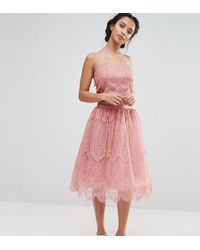 Chi Chi London - Allover Lace Tulle Full Prom Midi Skirt - Lyst