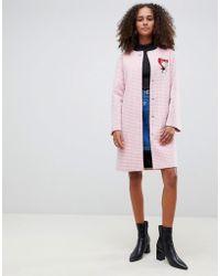 Love Moschino - Abrigo de mezcla de lana con estampado de cuadros vichy y botones en contraste de - Lyst