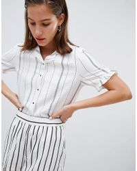 Mango - Stripe Frill Sleeve Blouse - Lyst