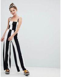 Bershka - Wide Stripe Jumpsuit In Mono - Lyst