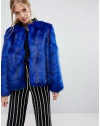 Bershka - Faux Fur Jacket - Lyst