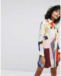 2nd Day - Printed Zipped Shirt Dress - Lyst