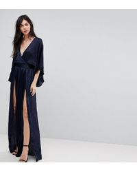 Flounce London - Wrap Front Kimono Maxi Dress With Double Thigh Splits And Bodysuit - Lyst