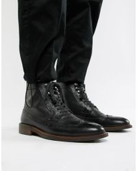 Dune - Lace Up Brogue Boots In Black - Lyst
