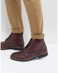 Frank Wright | Brogue Boots Burgundy Leather | Lyst