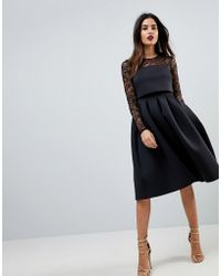 ASOS - Lace Long Sleeve Crop Top Prom Dress - Lyst